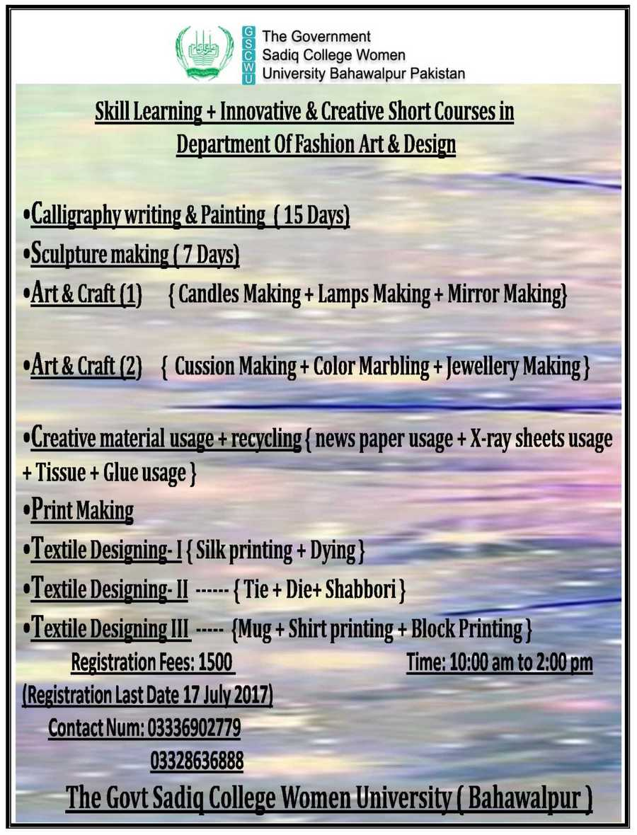 Skill Learning+Innovative & Creative Short Courses in Department of Fine Arts